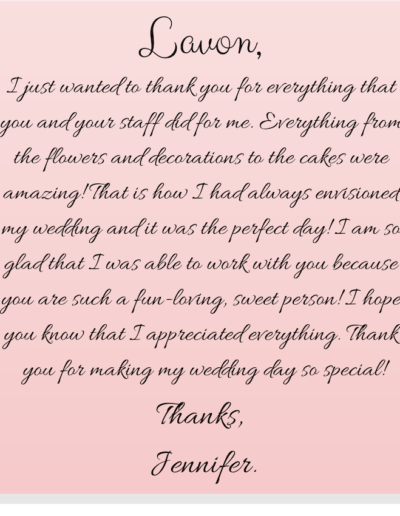 Jennifer's Thank You Note